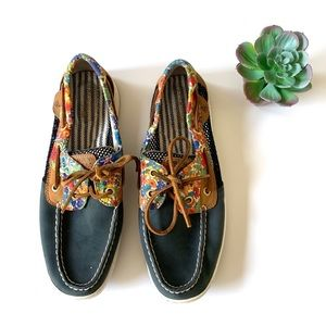 Sperry Navy Liberty Floral Leather Topsider Loafer